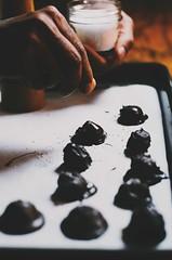 dark chocolate pumpkin and almond truffles with se…