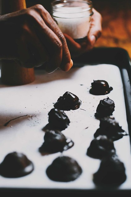 dark chocolate pumpkin and almond truffles with sea salt and black pepper |A Brown Table