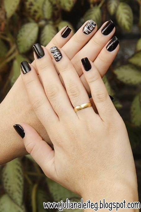 unha decorada juliana leite nail art preto e branco chic classica filha unica pintar uma unha so como fazer as unhas  03