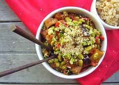general tso's-style eggplant stir-fry