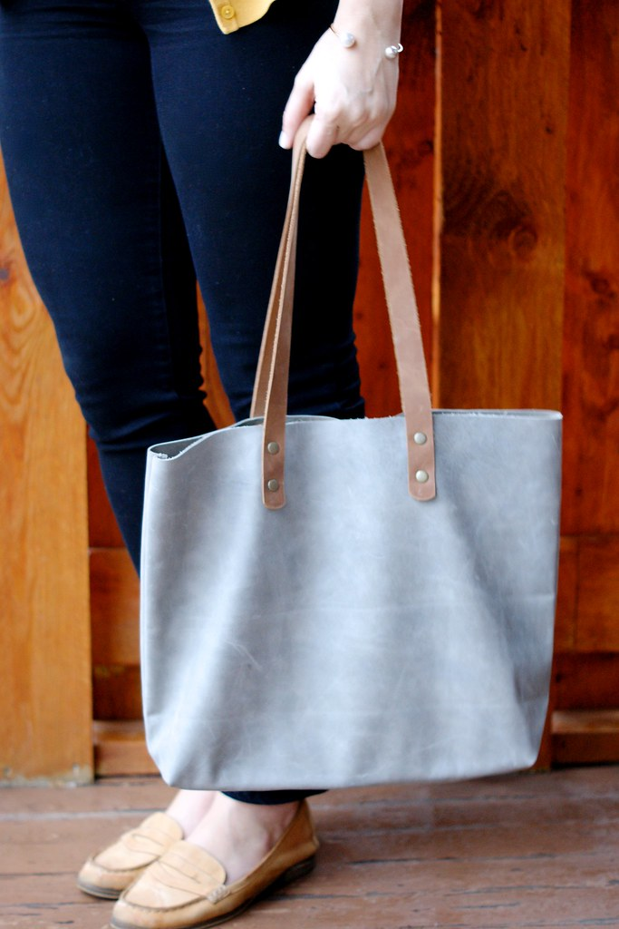 LARGE Distressed grey leather shoulder bag, Leah Lerner