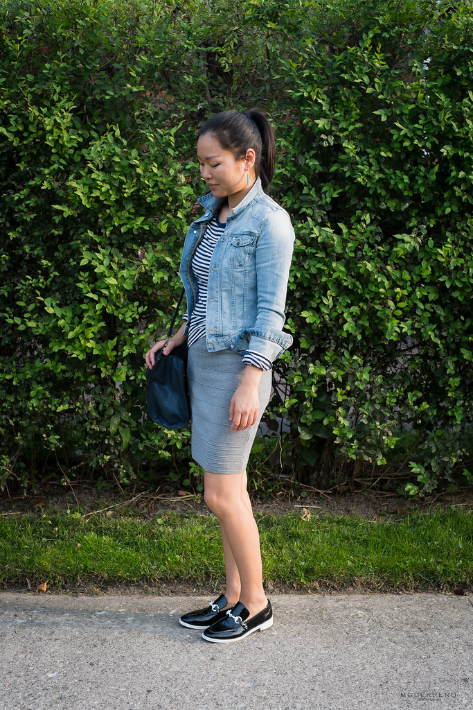 Denim Jacket and Knit Dress 06
