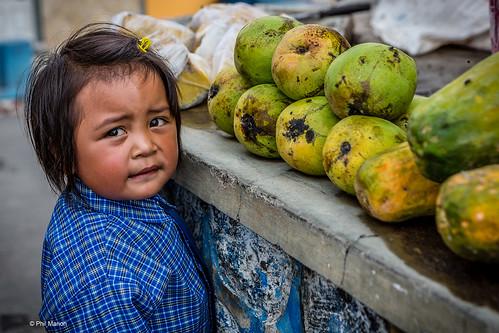 Mango, papaya and jackfruit shopping with mom - Cemara Lawang, Java Indonesia