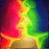 Sarutul pictura fluorescenta psihedelica - psychedelic kiss fluorescent painting