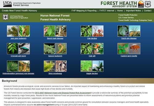 The Forest Health Advisory System screenshot