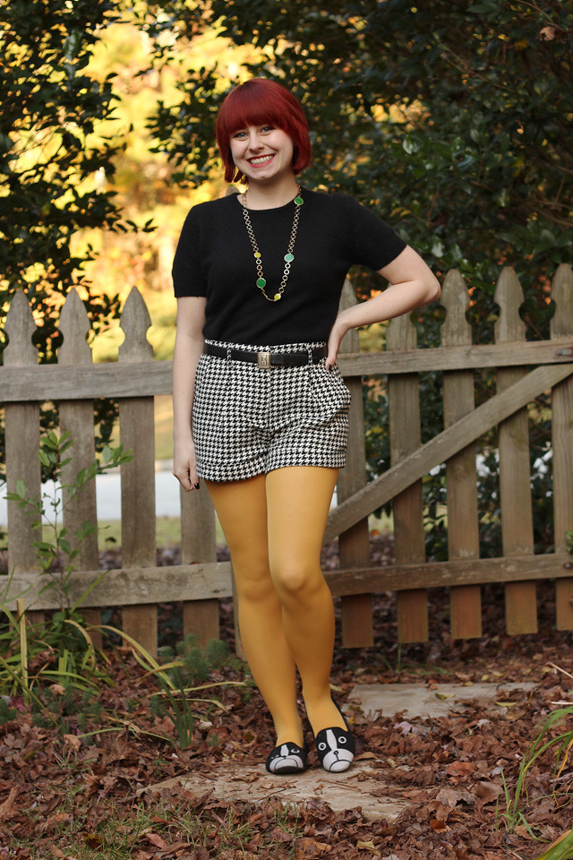 Short Sleeved Sweater, Houndstooth Shorts, Yellow Tights, and Boston Terrier Flats