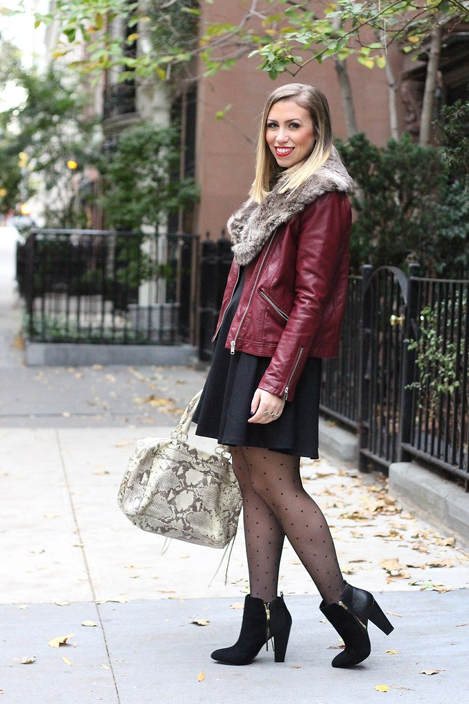 Fur Collar, Leather Jacket & Polka Dot Tights | Fall Fashion | #LivingAfterMidnite