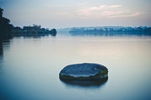 blue autumn sunset mist lake water stone lough loch mere