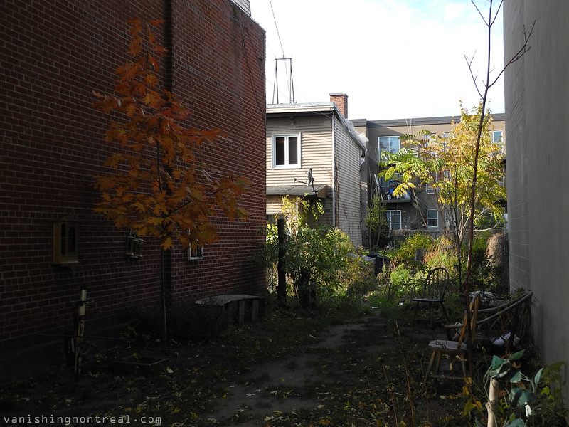 Empty lot and house tucked away big yards on Saint-Charles street