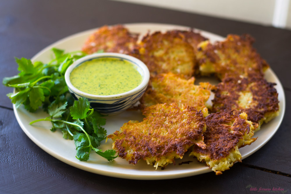 Yucca Latkes with Aji Amarillo via LittleFerraroKitchen.com