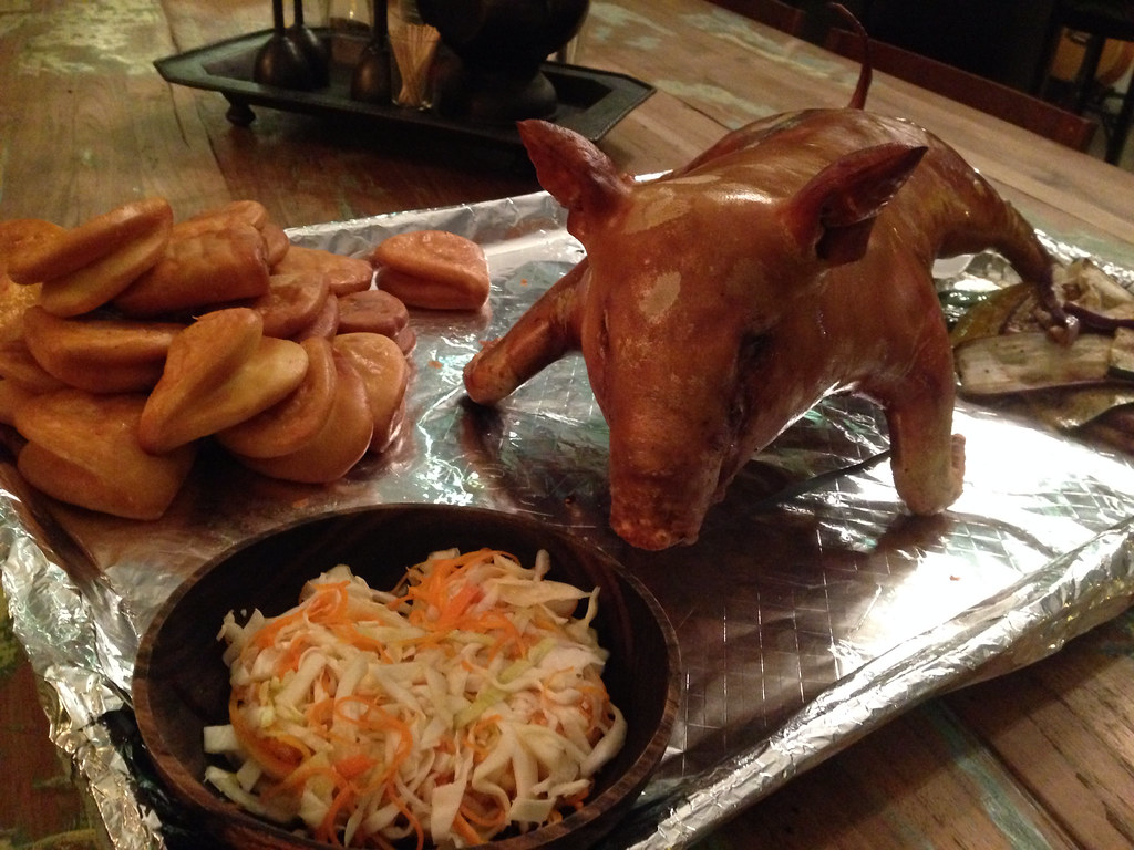 Roast Suckling Pig with fried mantou and coleslaw