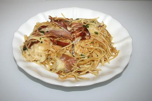 Spaghetti casserole with bacon & mozzarella / Spaghettiauflauf mit Speck & Mozzarella - Reloaded