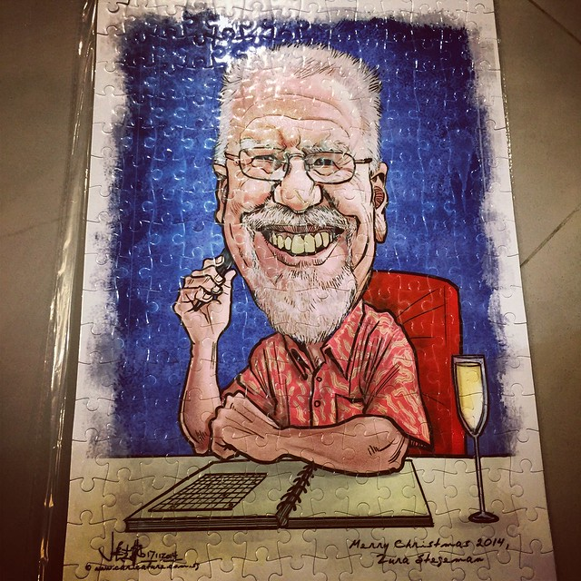 Digital writer caricature printed onto A3 size puzzle