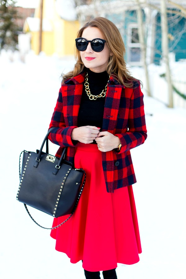 Red plaid + red midi holiday