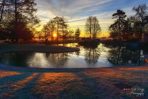 sculpture lake sunrise pond cincinnati edenpark