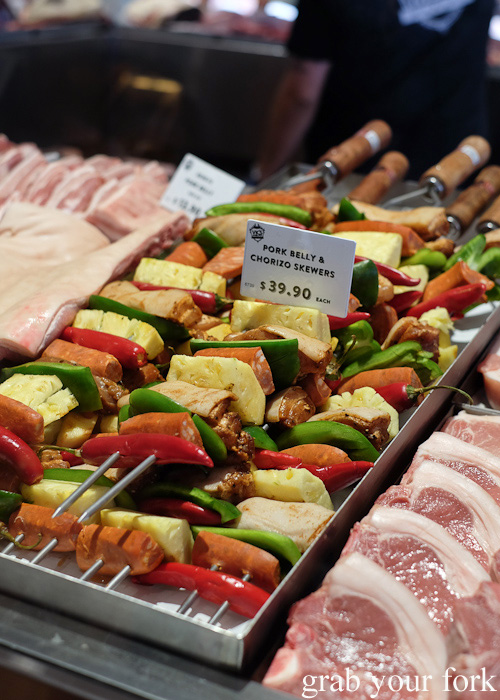 Pork belly and chorizo skewers at Vic's Meat Market at Sydney Fish Market, Pyrmont