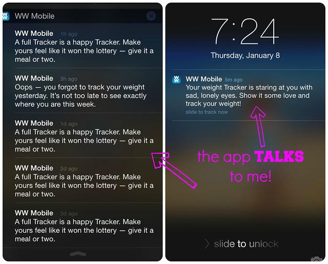 Weight Watchers Notifications via iPhone