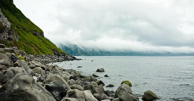 Las islas Kuriles. Mar de Ojotsk. Océano Pacífico Norte.