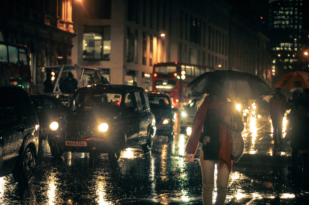 Raining London at Night