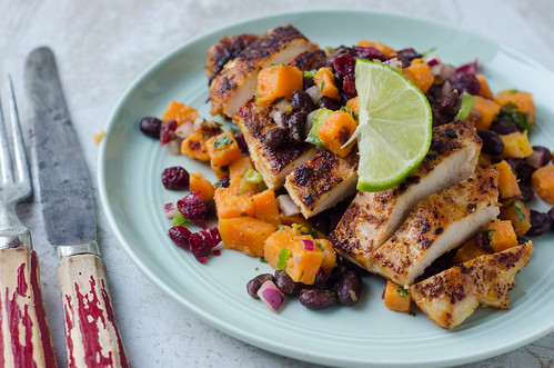 Spicy Chicken with Black Bean, Cranberry, and Sweet Potato Salsa