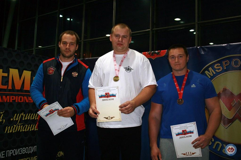 2. Ivan Matyushenko, 1. Andrey Krylov, 3. Alexander Shalyminov - SENIOR MEN +110 KG podium - Moscow Armwrestling Championship 2014 │ Photo Source: armsport-rus.ru