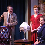 "The Arvada Center presents Harvey Photo Credit: P. Switzer Photography 2015 - Pictured L-R: Seated - ""Harvey"". Standing - Torsten HIllhouse (Elwood P. Dowd) and  Missy Moore (Myrtle Mae Simmons). Seated - Kate Gleason (Veta Louise Simmons)."
