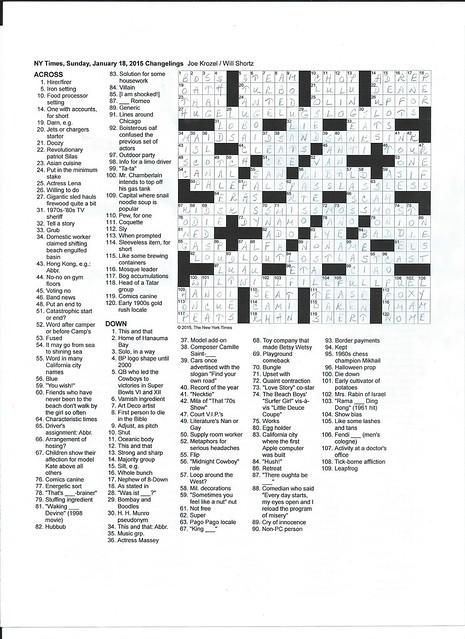 NYT Sunday Puzzle - January 18, 2015
