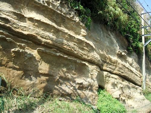 夏休みには湘南に_腰越-鎌倉高校前の線路沿いに地層が見える(1)