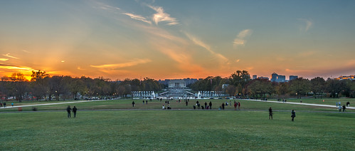 Panorama - Sunset on the West End of the National Mall by Geoff Livingston