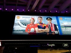 Neo-socialist-realist Aeroflot ad, Heathrow Airport Terminal 2, Hounslow, London, UK