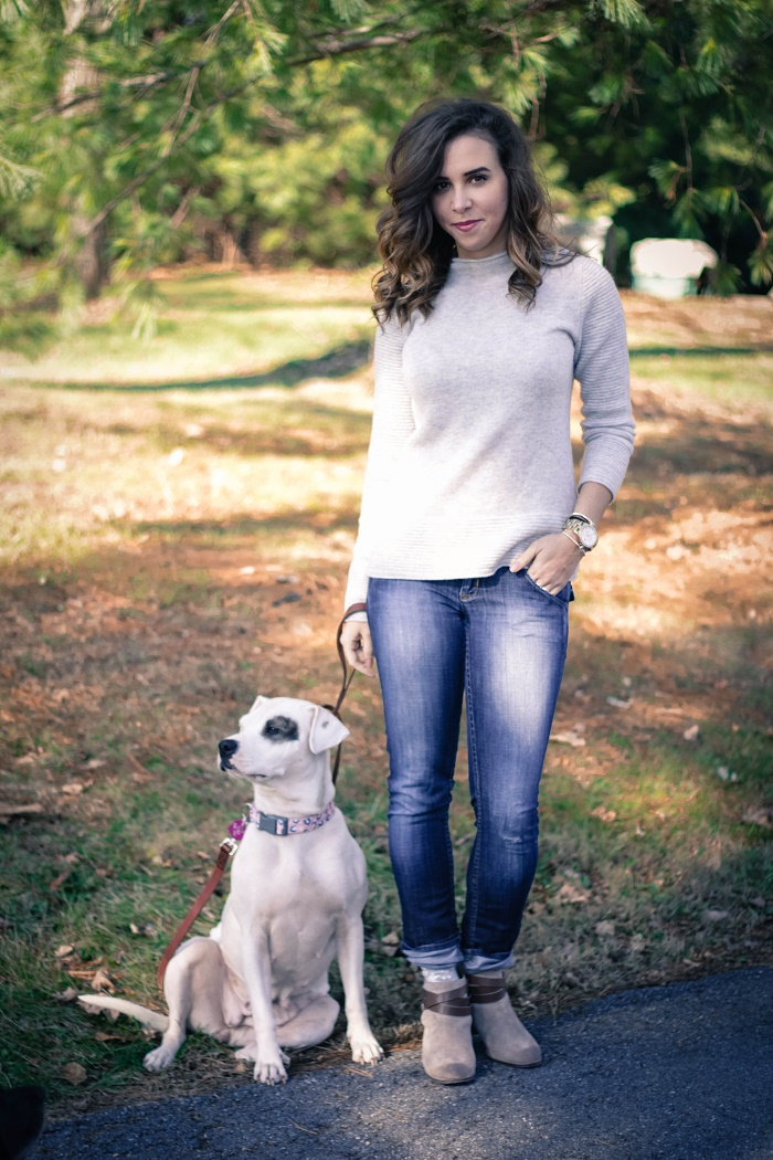 banana republic sweater. hudson jeans. dolce vita booties. casual fall style. rescue dog. adopt a dog.  va darling. 1