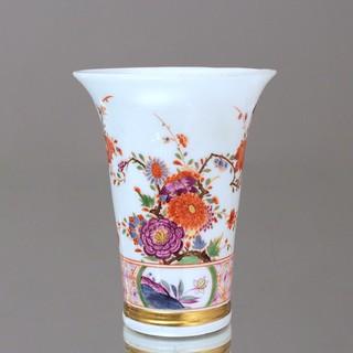 Meissen um 1730: Vase, indianische Blumen, Johann Ehrenfeld Stadler, Blumenvase, Barock, Schmelzfarben, Gold, Trompetenvase, Trichtervase, indische Blumen