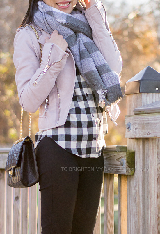 checked scarf, lilac leather jacket, buffalo checked shirt