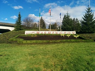 The Welcome to Washington sign is ready for planting