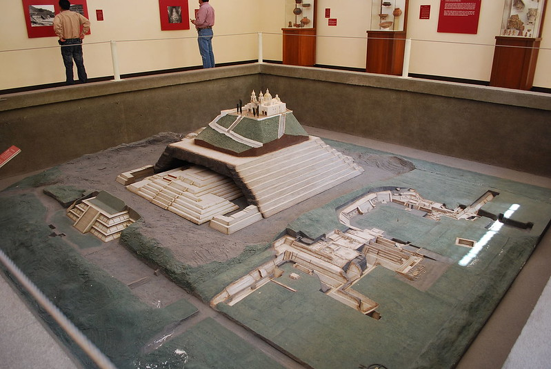 Model of the Cholula Pyramid site at the site museum in Puebla