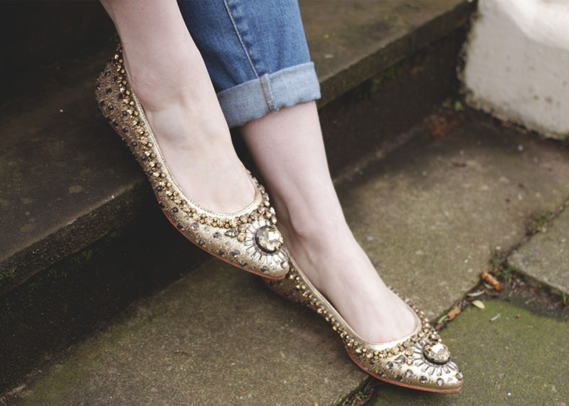 Gold Sparkly Flat Shoes, Bumpkin Betty