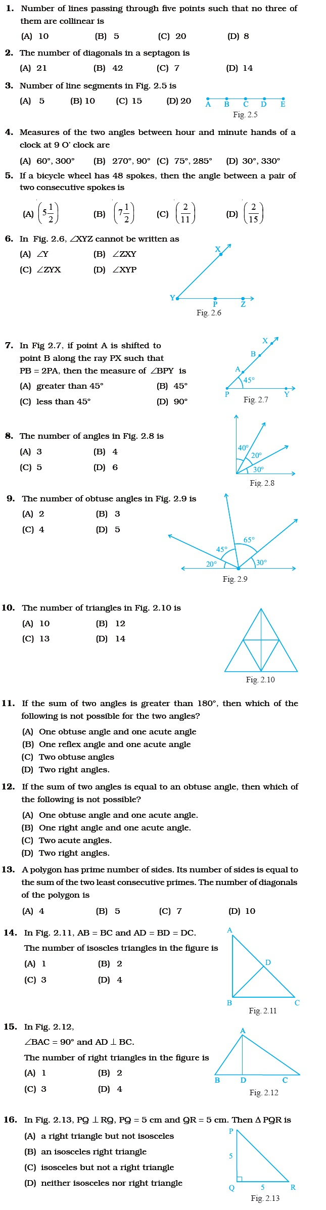 Class 6 Important Questions for Maths – Geometry – AglaSem