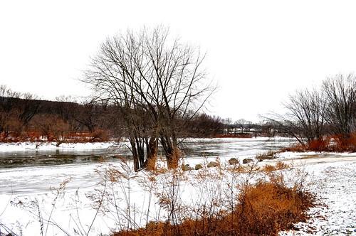 winter snow newyork island susquehannariver lookingwest endicott boatramp broomecounty ahobblingaday icedriver grippenpark