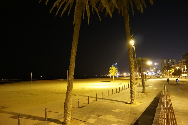 Barceloneta beach at night