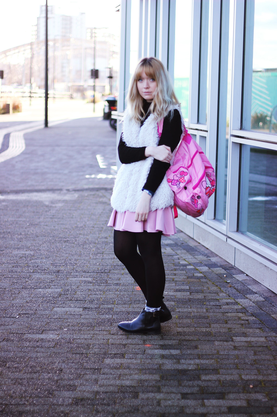 asos pink skirt, pastel hair blogger