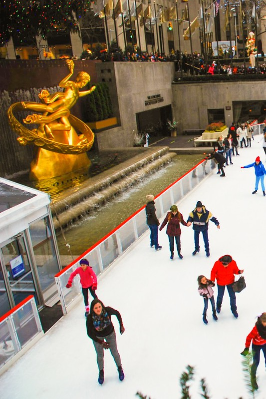 skating rink at Rockefeller Center NYC, Prometheus bronze gilded statue New York City