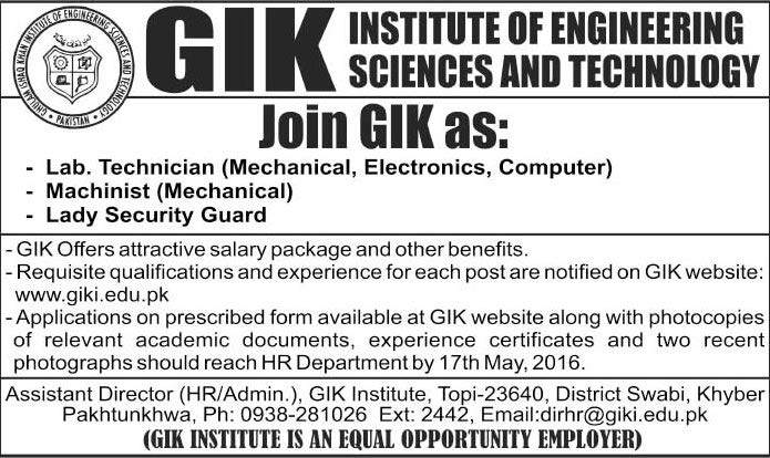 GIKI Institute of Engineering and Technology Technical Staff Required