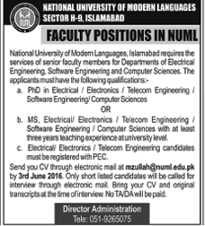 NUML Islamabad Faculty Required