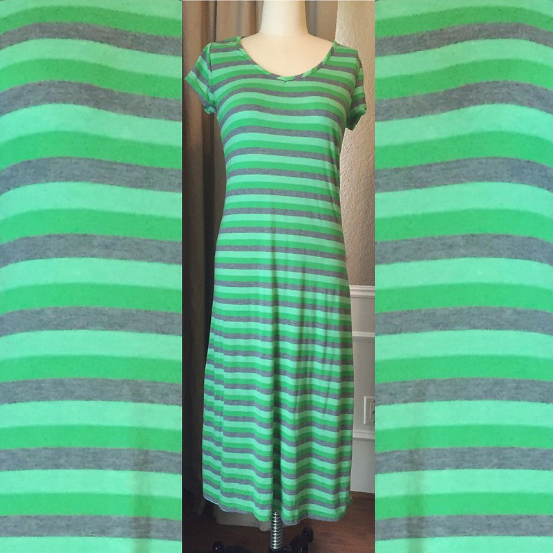 Green Striped Dress Refashion - Before