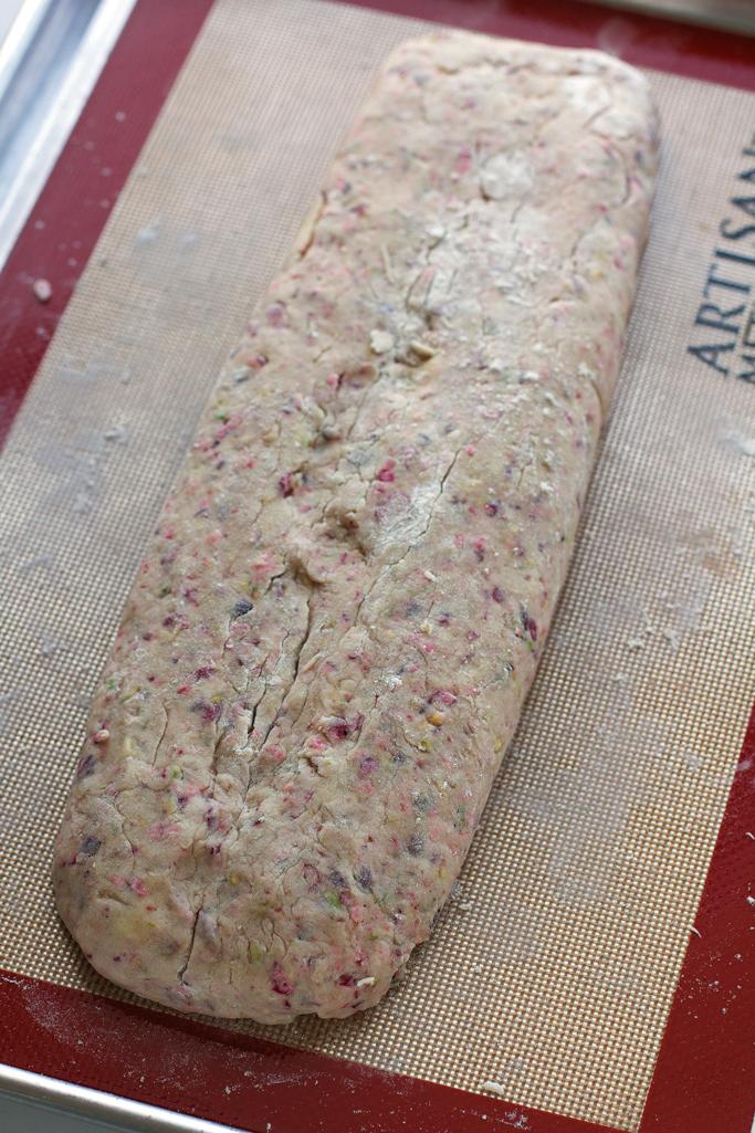 Cranberry Pistachio Biscotti with White Chocolate Drizzle