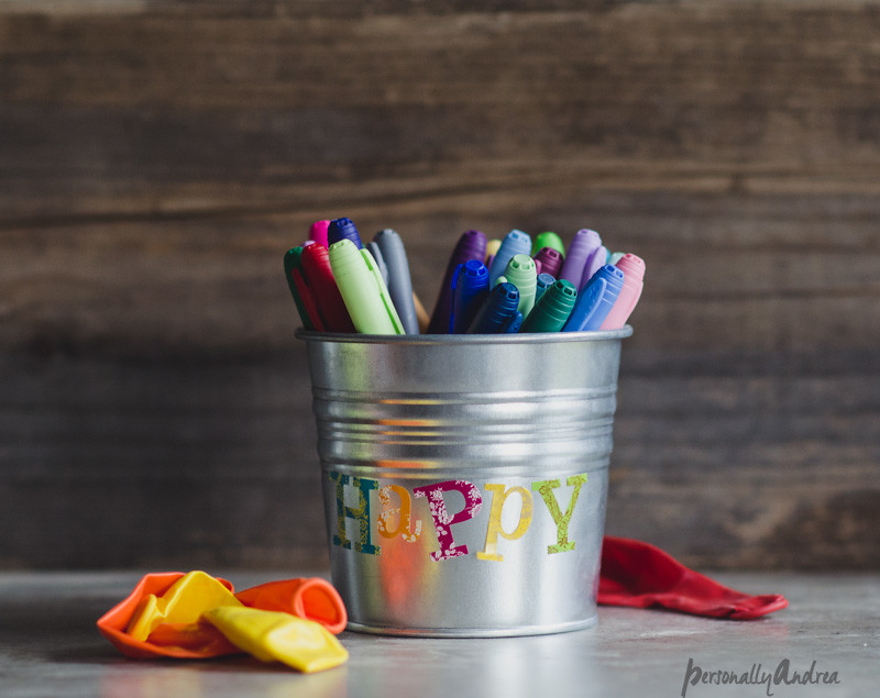 IKEA SOCKER flowerpot repurposed as marker storage | Kids' birthday gift | personallyandrea.com