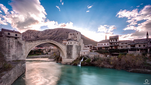 old bridge sunset river mostar neretva