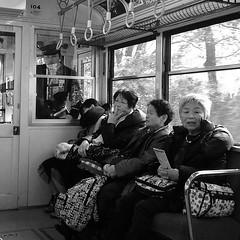 On the way to Sounzan station, with the train master and some Japanese passengers. #japan #japanese #train #travel #instagood #instatravel #photooftheday #iphonephoto #blackandwhite #mtfuji #fuji #vsco #vscocam