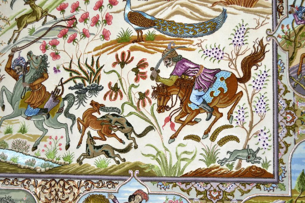 Tabriz 70 Raj - hunting scene Fine 7x10 (3)