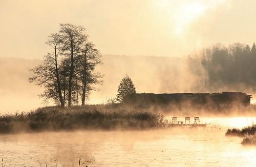 morning autumn light lake history fog landscape latvia